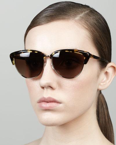 Oliver Peoples Alisha Half-Cat-Eye Sunglasses, Brown