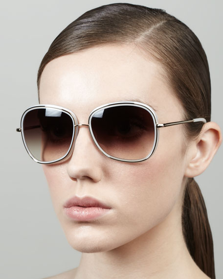Oliver Peoples Emely Rounded Pillow Sunglasses, Ivory
