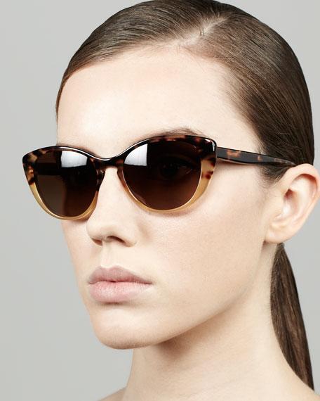 Haley Cat-Eye Sunglasses, Spotted Tortoise