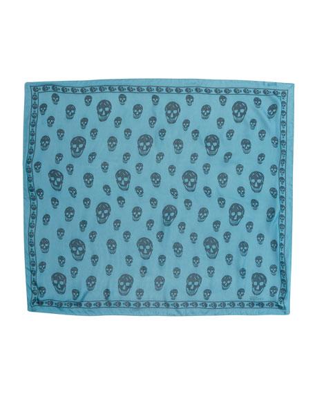Skull-Print Chiffon Scarf, Petroleum/Blue