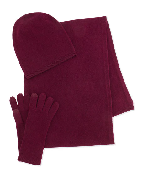 Slouchy Cashmere Hat, Gloves & Scarf, Plum