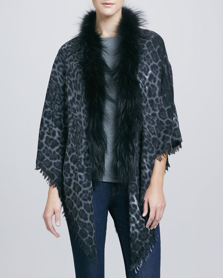 Fox-Trim Cashmere Triangle Shawl, Leopard-Print