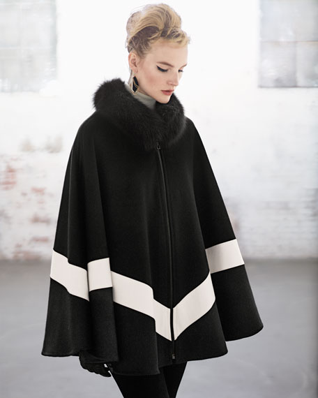 Fox Fur-Collar Zip-Front Cape, Black/White