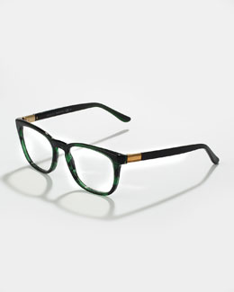 Gucci Ombre Square Fashion Glasses, Green Havana