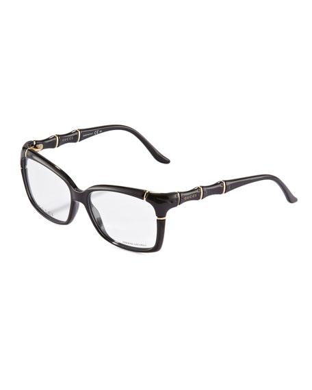 Gucci Bamboo Frame Fashion Glasses, Black