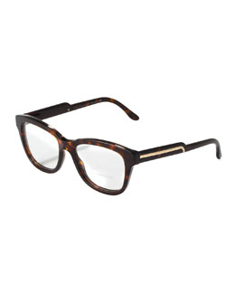 Stella McCartney Oversized Round Fashion Glasses, Dark Tortoise