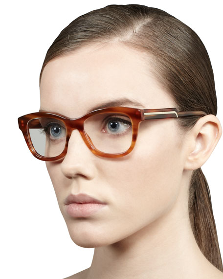 Oversized Rounded Square Frame Fashion Glasses, Light Tortoise