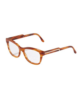 Stella McCartney Oversized Rounded Square Frame Fashion Glasses, Light Tortoise