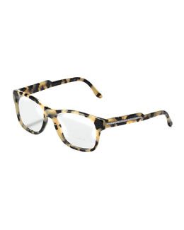 Stella McCartney Oversized Square Frame Fashion Glasses, Gray Tortoise