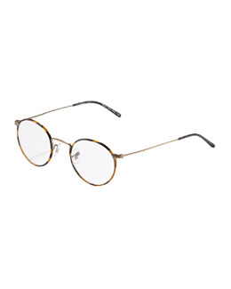 Oliver Peoples Ellerman Round Fashion Glasses, Antique Gold
