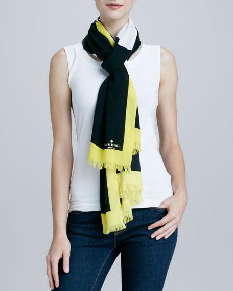 giant-apple-print scarf, black/white/yellow