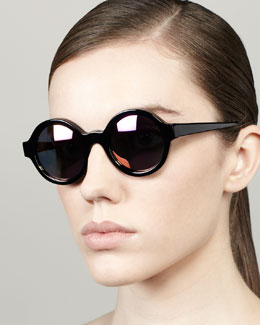 Illesteva Frieda Mirrored Round Sunglasses, Black/Purple