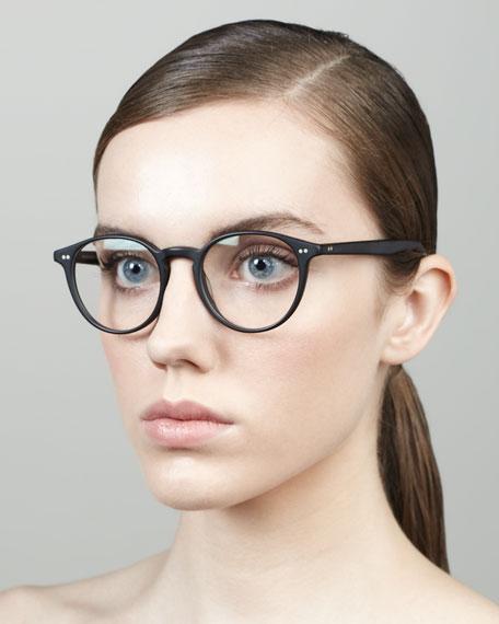 Elins Round Fashion Glasses, Matte Black