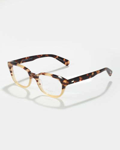 Oliver Peoples Michaela Rectangle Fashion Glasses, Spotted Tortoise