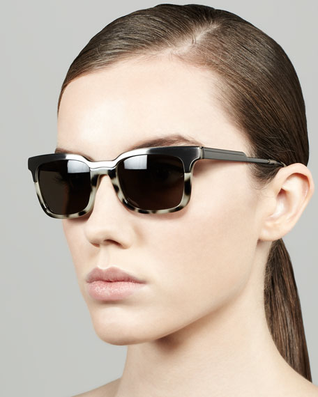 Metal/Tortoise Rectangle Sunglasses, Gunmetal/Cream