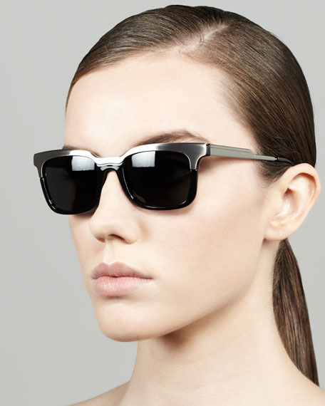 Metal/Tortoise Rectangle Sunglasses, Gunmetal/Black