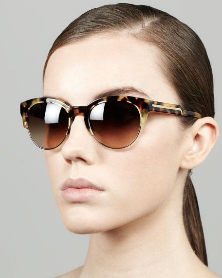 Stella McCartney Tortoise Half-Cat-Eye Sunglasses, Brown