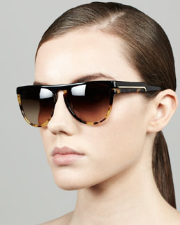 Stella McCartney Oversized Shield Sunglasses, Black/Spotty Tortoise
