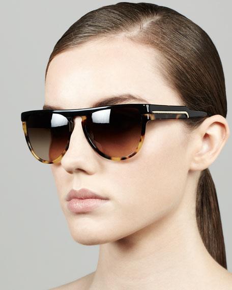 Oversized Shield Sunglasses, Black/Spotty Tortoise