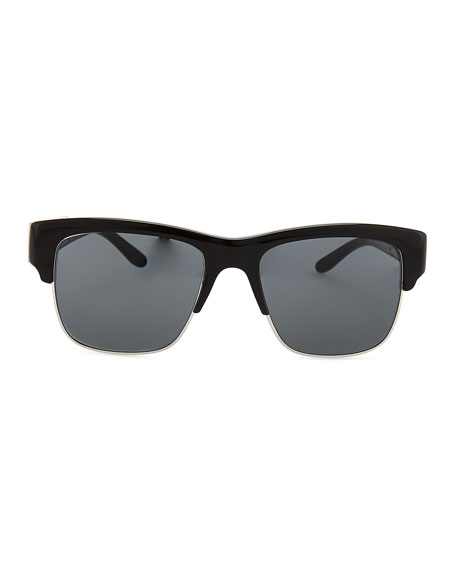 Half-Rim Sunglasses, Black