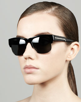 Stella McCartney Half-Rim Sunglasses, Black