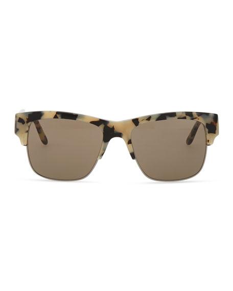 Half-Rim Sunglasses, Gray Tortoise