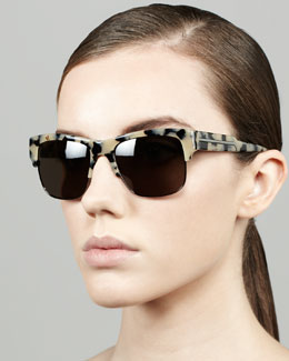 Stella McCartney Half-Rim Sunglasses, Gray Tortoise