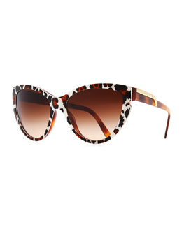 Stella McCartney Leopard-Print Cat-Eye Sunglasses, Brown