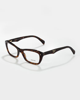 Prada Catty Rectangle Fashion Glasses, Dark Tortoise