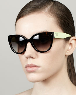 Prada Color-Arm Heritage Logo Sunglasses, Havana/Neon Green