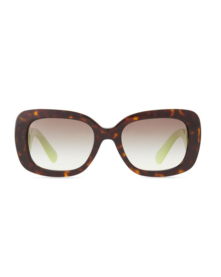 Baroque Colorful Sunglasses, Black/Neon Green