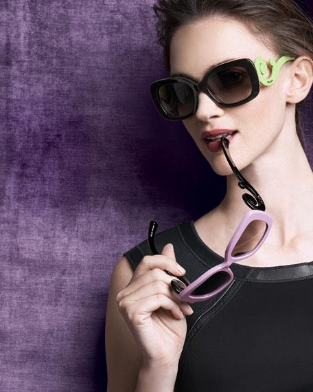 Baroque Colorful Sunglasses, Black/Neon Green