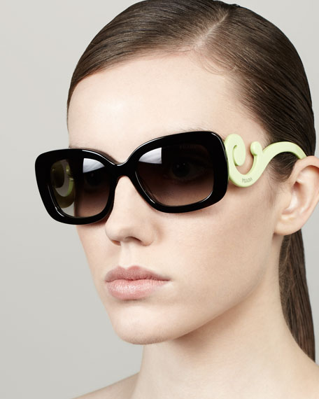 c067e430d4dd Prada Baroque Colorful Sunglasses, Black/Neon Green
