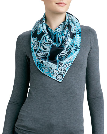 Deco Fan Square Silk Scarf, Turquoise
