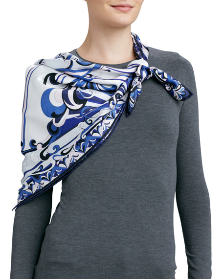 Neo Singapore Printed Silk Scarf, White/Blue