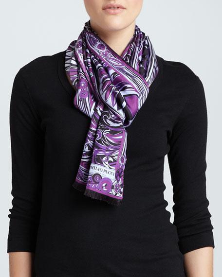 Leaf-Print Silk Scarf, Violet