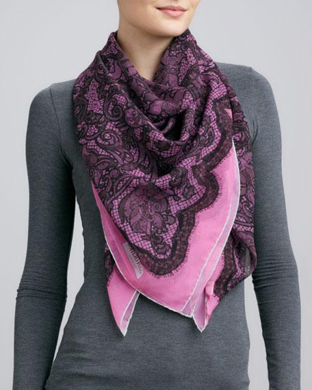 Lace-Print Silk Scarf, Fuchsia