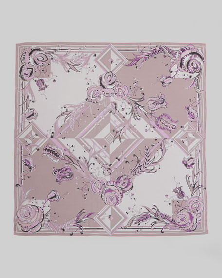 Star Rose Printed Silk Scarf, Pink