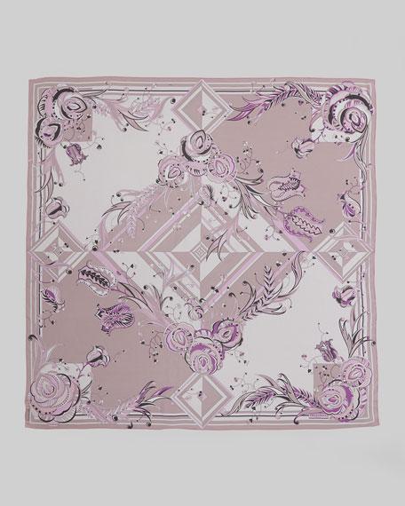 Star Rose Printed Silk Scarf, Pink