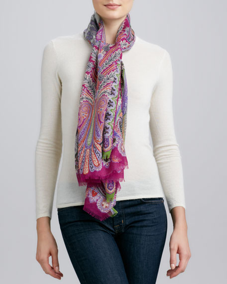 Dhely Fern Paisley Scarf, Pink/Magenta