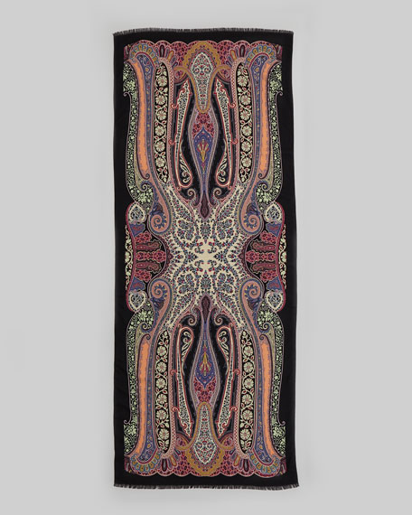 Dhely Fern Paisley Scarf, Black/Pink/Blue