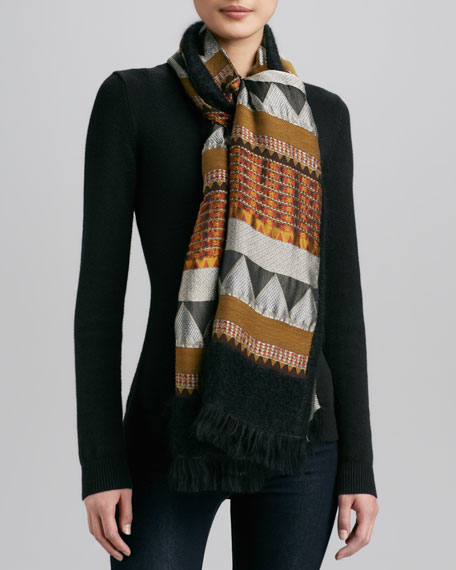 Zigzag Brocade Scarf, Gold/Black