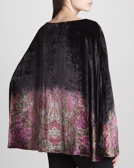 Reversible Ombre Printed Velvet Poncho, Black/Violet