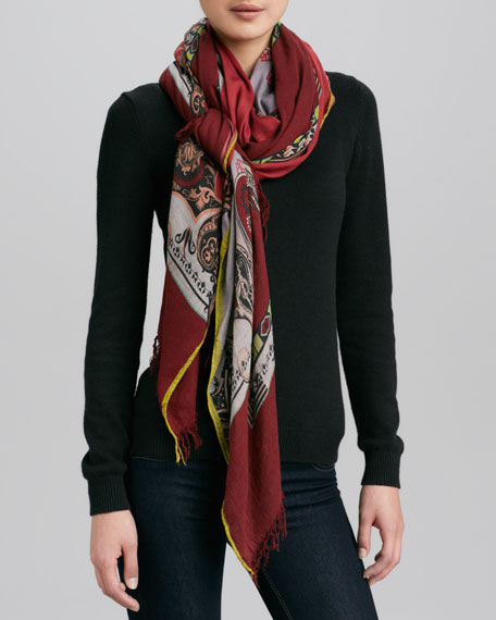 Guitar-Print Scarf, Red