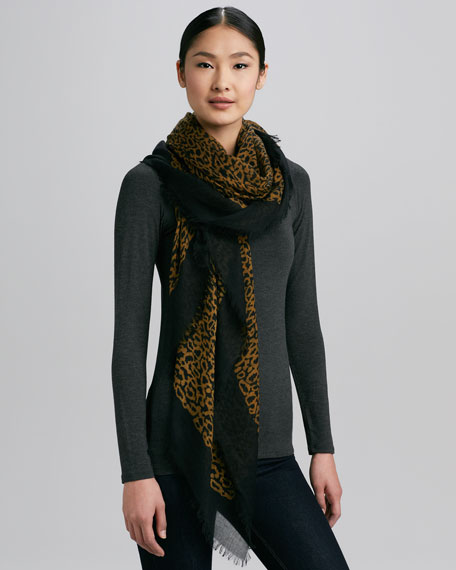 Squiggle-Print Scarf, Gold
