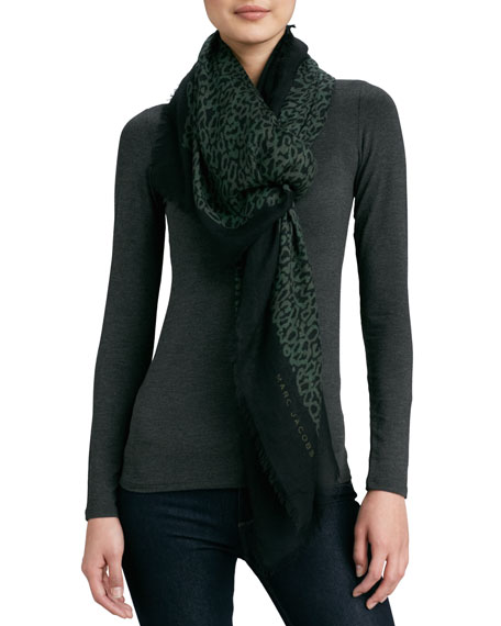 Squiggle-Print Scarf, Forest