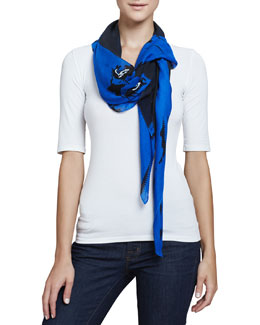 McQ Alexander McQueen Angry Eagle Square Scarf, Electric Blue