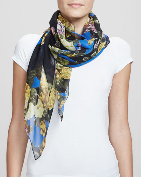 Floral Logo Square Scarf, Electric Blue/Multi