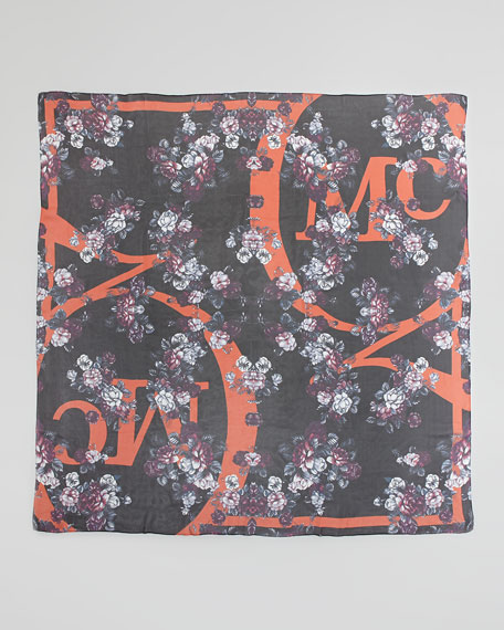 Floral Logo Square Scarf, Orange/Multi