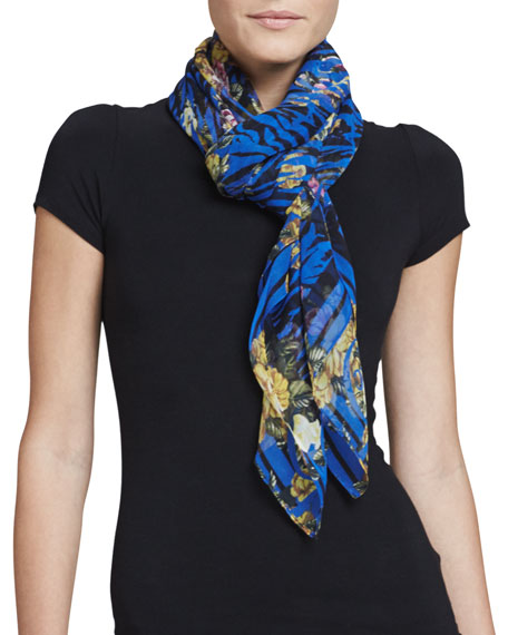 Tiger-Striped Floral Square Scarf, Electric Blue